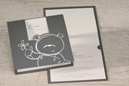 antraciet-geboortekaartje-met-zilveren-teddybeer-buromac-505072-TA505-072-15-1
